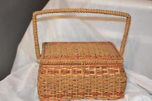 Antique Vintage Rattan Woven Wicker Victorian SEWING BOX