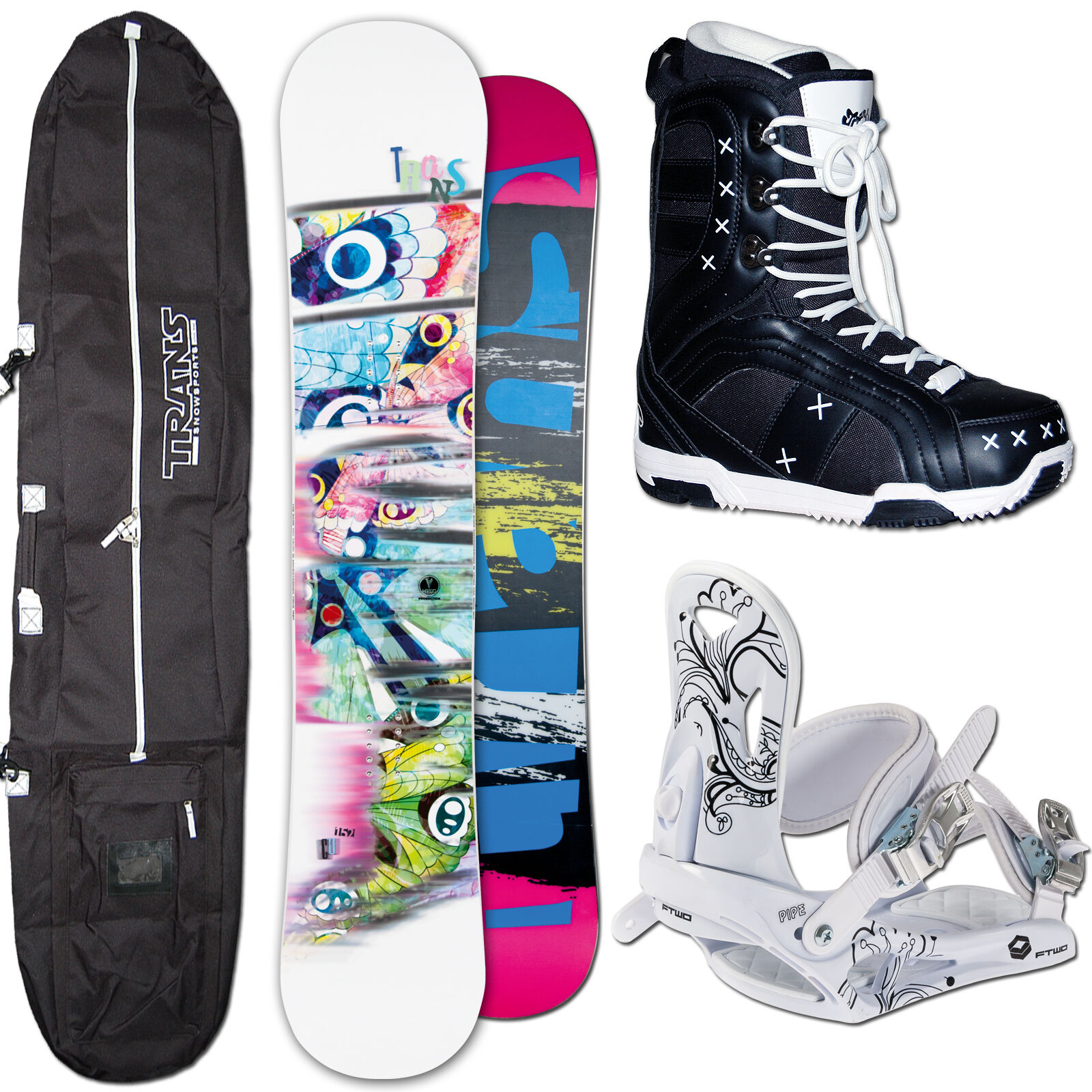Women's Snowboard Trans Cu 141 cm + Ftwo Pipe Binding SIZE M +Bag+ Boots