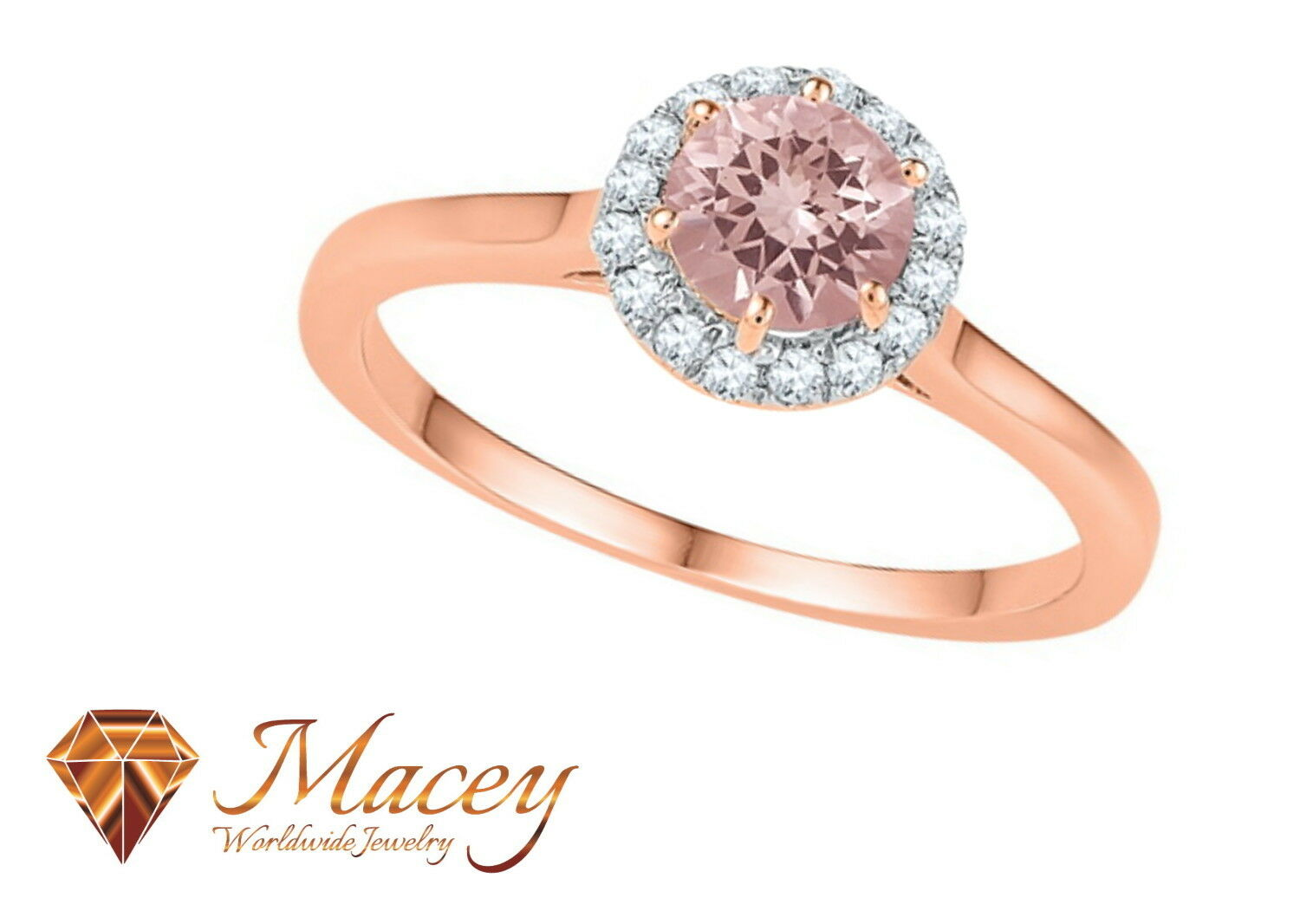 10K pink gold Morganite Diamond Ultimate Round Solitaire Halo Ring .80Ct