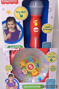 Fisher-Price-Lot-Sing-Along-Microphone-And-Mini-Drum-With-Lights-Musical-Toys