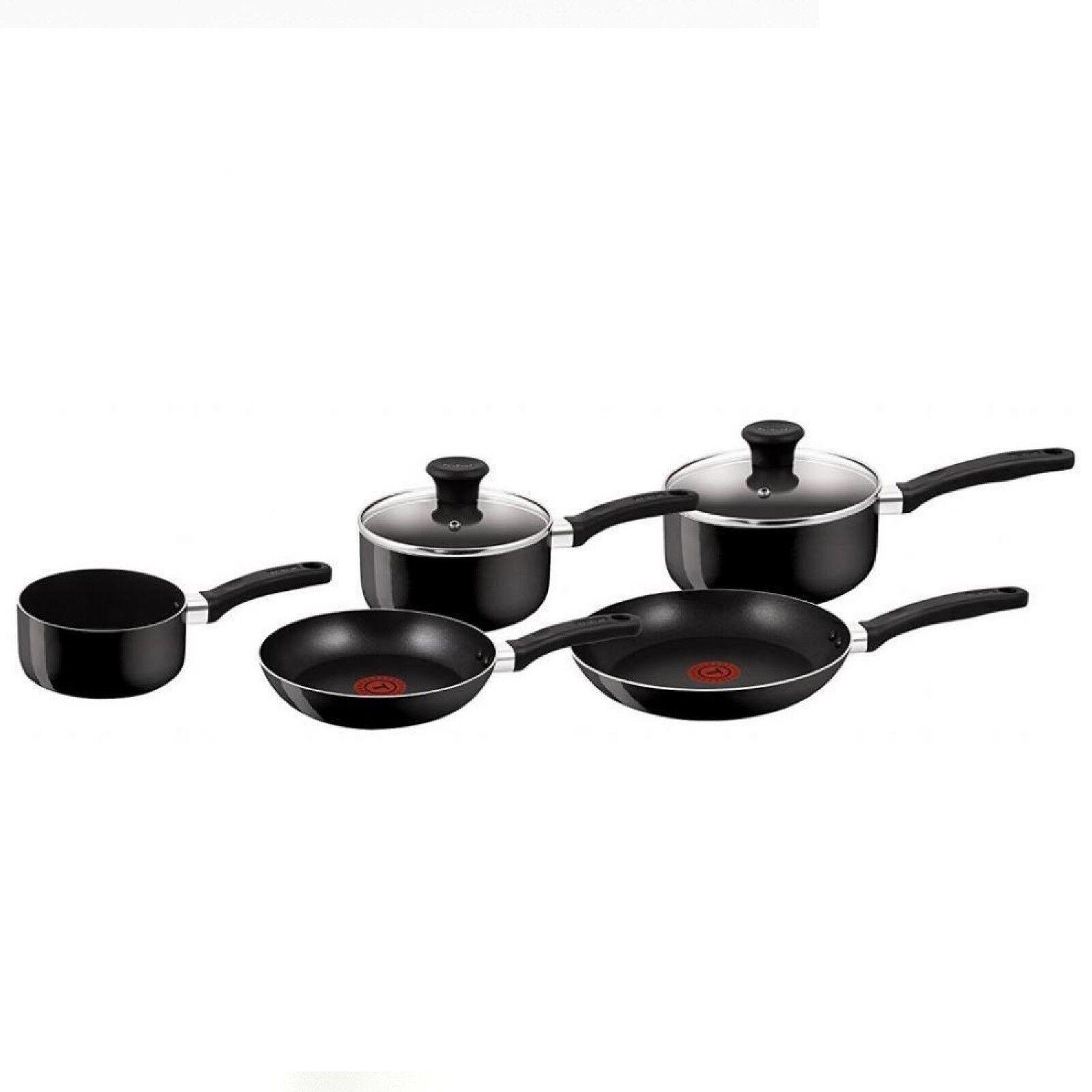 Tefal TEF-B020S544 ALLUMINIO 5 Pezzi Antiaderenti Delight Cookware Set-Nero