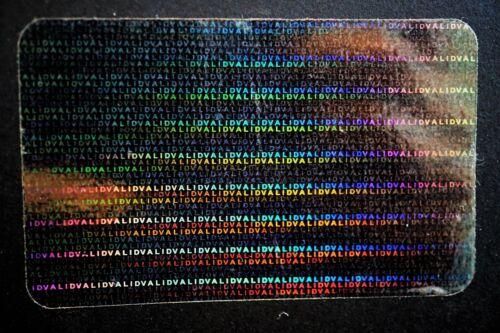 Hologram Valid Repeat Overlays Overlay Inkjet Teslin ID Cards Lot of 5
