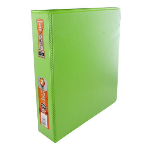 "Wilson Jones Heavy Duty Round Ring View Binder with Durable Hinge 2/"" Chartreuse"