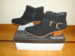 $119 Kensie Womens Colten Ankle Boots Booties Black Suede Leather Size 6
