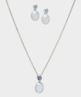 Iolite and Cultured Pearl 925 Sterling Silver Stud Earrings