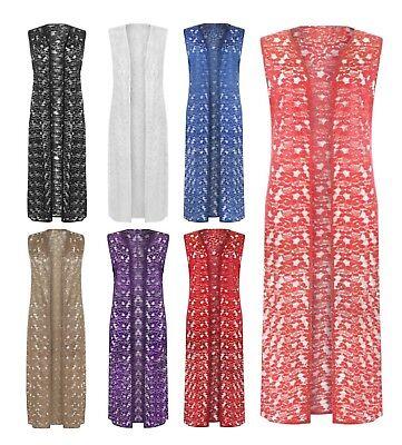 Womens Ladies Short Kimono Open Sleeveless Floral Lace Pane Belted Cardigan UK