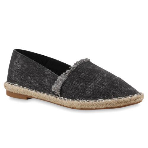 Damen Slippers Espadrilles Bast Denim Bequeme Sommer 75982 Schuhe