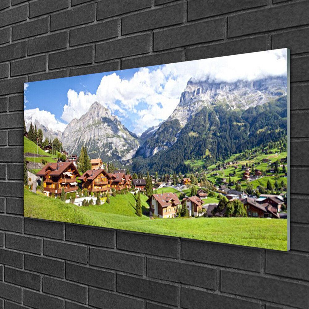 Tableau sur verre Image Impression 100x50 Paysage Maisons Montagnes