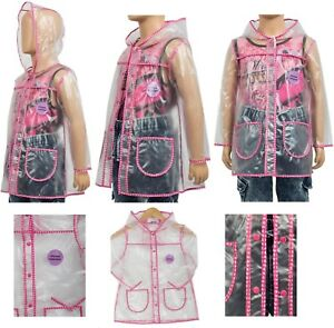 NEW-GIRLS-CLEAR-PVC-RAIN-COAT-WITH-PINK-BUTTERFLY-TRIM-AGE-1-7-Ex-UK-Chainstore