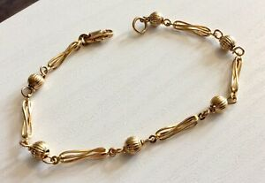 Beautiful-Ladies-9CT-Gold-Fancy-Link-Ball-Bracelet