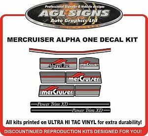 Mercury Alpha one 4.3 Litre LX  7 Piece Decal Kit  Mercruiser reproductions