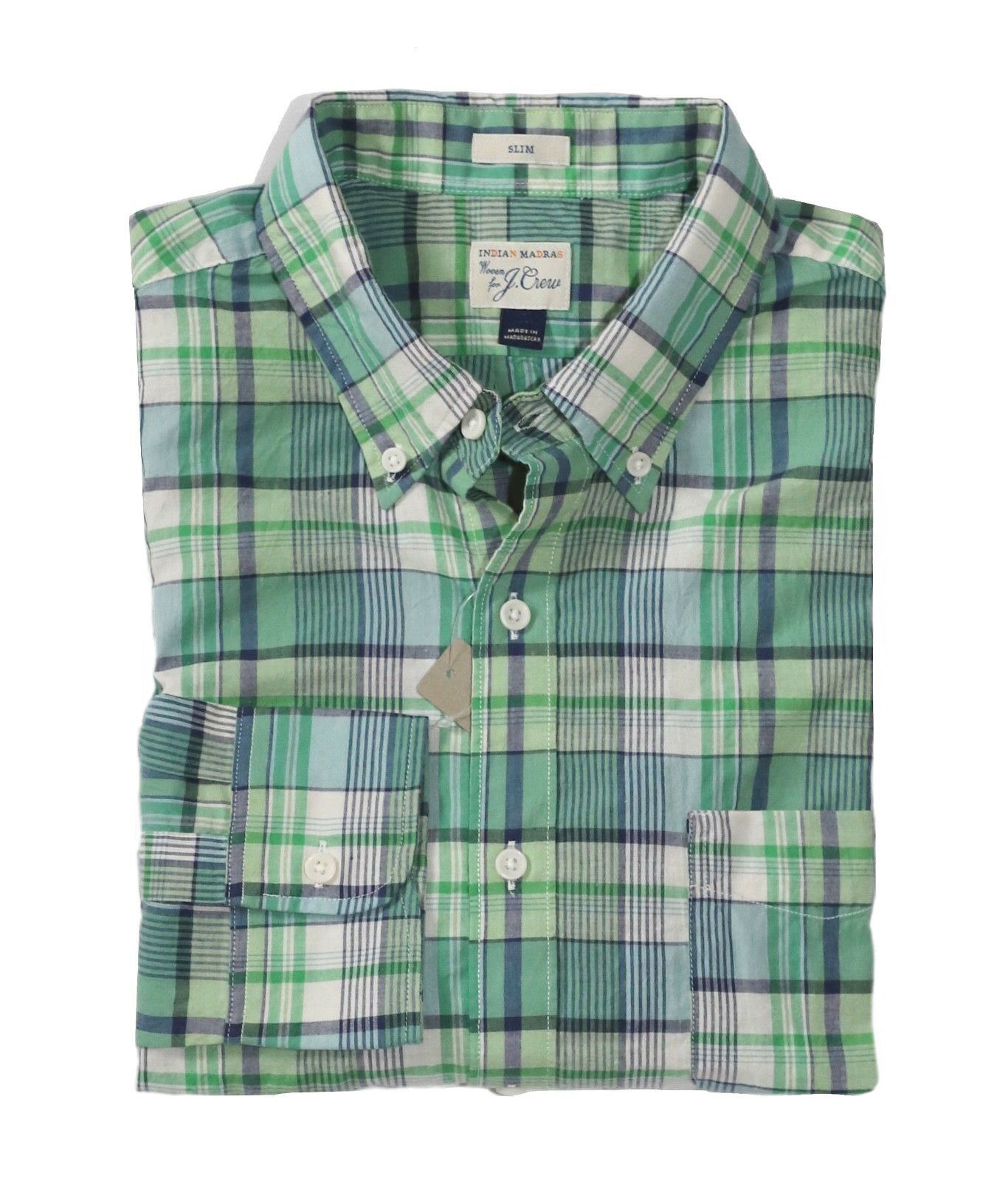 J.Crew - Mens XS Slim Fit - NWT - Long Sleeve Green Plaid Madras Cotton Shirt