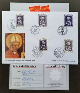 [SJ] Vatican Poland Czech Hungary Germany Joint Issue St. Adalbert 1997 (FDC)