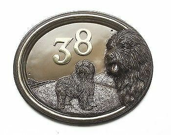 Old English Sheep Dog House Sign Plaque with Number