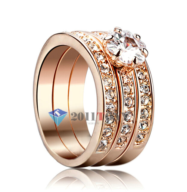 Three-in-One Simulated Diamond Gemstone Wedding Rings 18K Rose Gold Plated