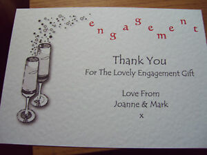 personalised engagement thank you cards 5 pack champagne red pink