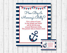 Nautical Anchor Navy Blue & Red How Big Is Mommys Belly Baby Shower Game