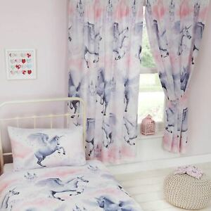 Details about STARDUST UNICORN LINED CURTAINS 66\