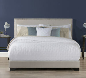 Upholstered-Platform-Bed-Queen-Size-W-Wood-Slats-amp-Headboard-Bed-Frame-Mattress