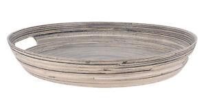 Deko Bambus Tablett 38 5 Cm Holz Tischdeko Schale Rund Obstschale