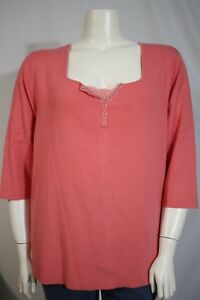 White Stag Woman Plus 26W 28W Pink Lace Snap Up Henley Knit Shirt Top