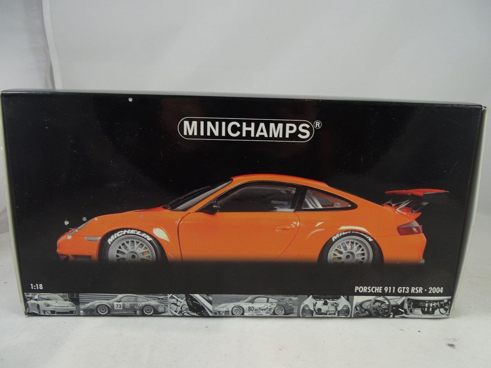 1 18 Minichamps 100046402 Porsche 911 GT3 RSR  2004 Orange Rarity §  vous rendre satisfait