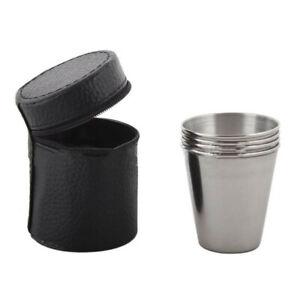 4-un-70ML-de-acero-inoxidable-de-vino-Beber-Vaso-conjunto-con-Cubierta-para-Estuche-de-Cuero