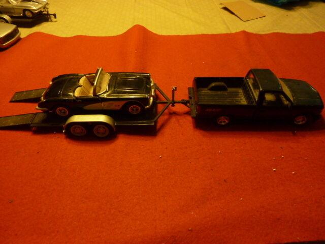 Diecast metal Chevy pickup truck double axle car trailer 1959 Corvette (3 pieces