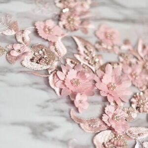 Pink-beaded-flower-embroidery-patch-lace-fabric-applique-Sewing-DIY-Au-Stock