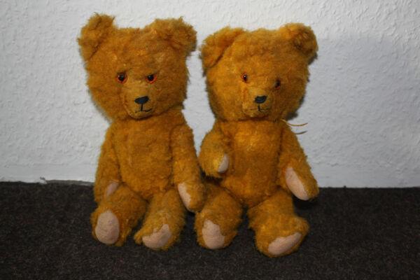 2 Alte Teddys Zwillingspärchen! Um 1960! Entlastung Von Hitze Und Sonnenstich