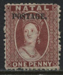 Natal-QV-1869-1d-rose-overprinted-Postage-unused-no-gum