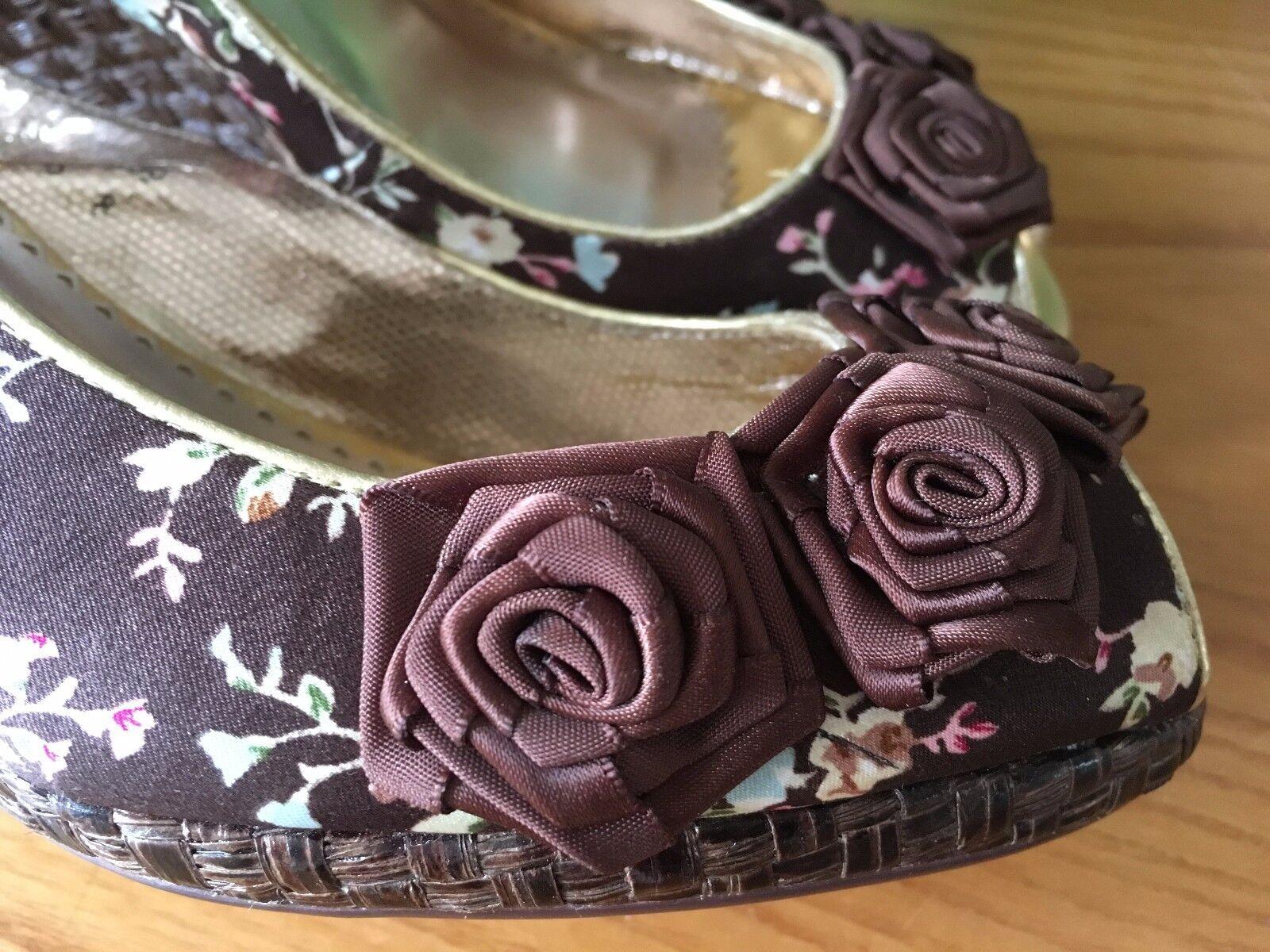 Poetic Licence Braun satin floral peep schuhe toe wedge sling back schuhe peep UK 6 EU 39 2cbaa6