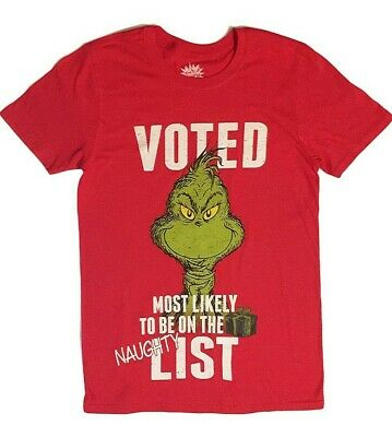 """Dr Seuss The Grinch Voted Most Likely On The Naughty/"""" List Christmas Shirt Men/'s"""