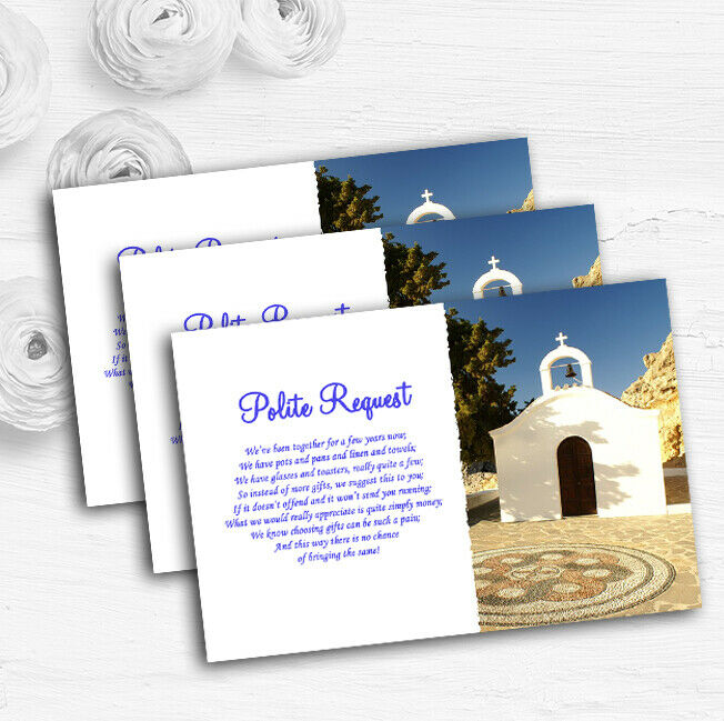 St Pauls Lindos Rhodes Personalised Wedding Gift Cash Request Money Poem Cards