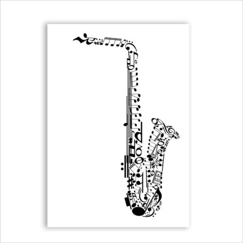 Saxophone Jazz Made With Musical Symbols Canvas Art Print Poster Decoration