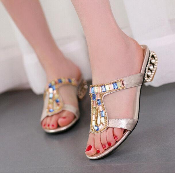 colorful Diamond Sandals Women's Rhinestones Slipper Loafers Kitten Heels Summer