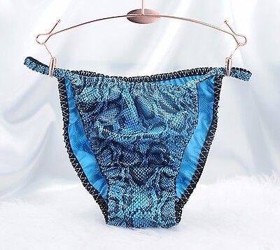 Sissy Mens String bikini panties in Shiny Vinyl pleather faux snake skin BLUE