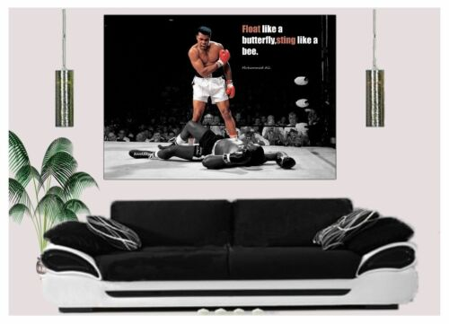 MUHAMMAD ALI FLOAT LIKE A BUTTERFLY STING LIKE A BEE PHOTO ON FRAMED CANVAS ART