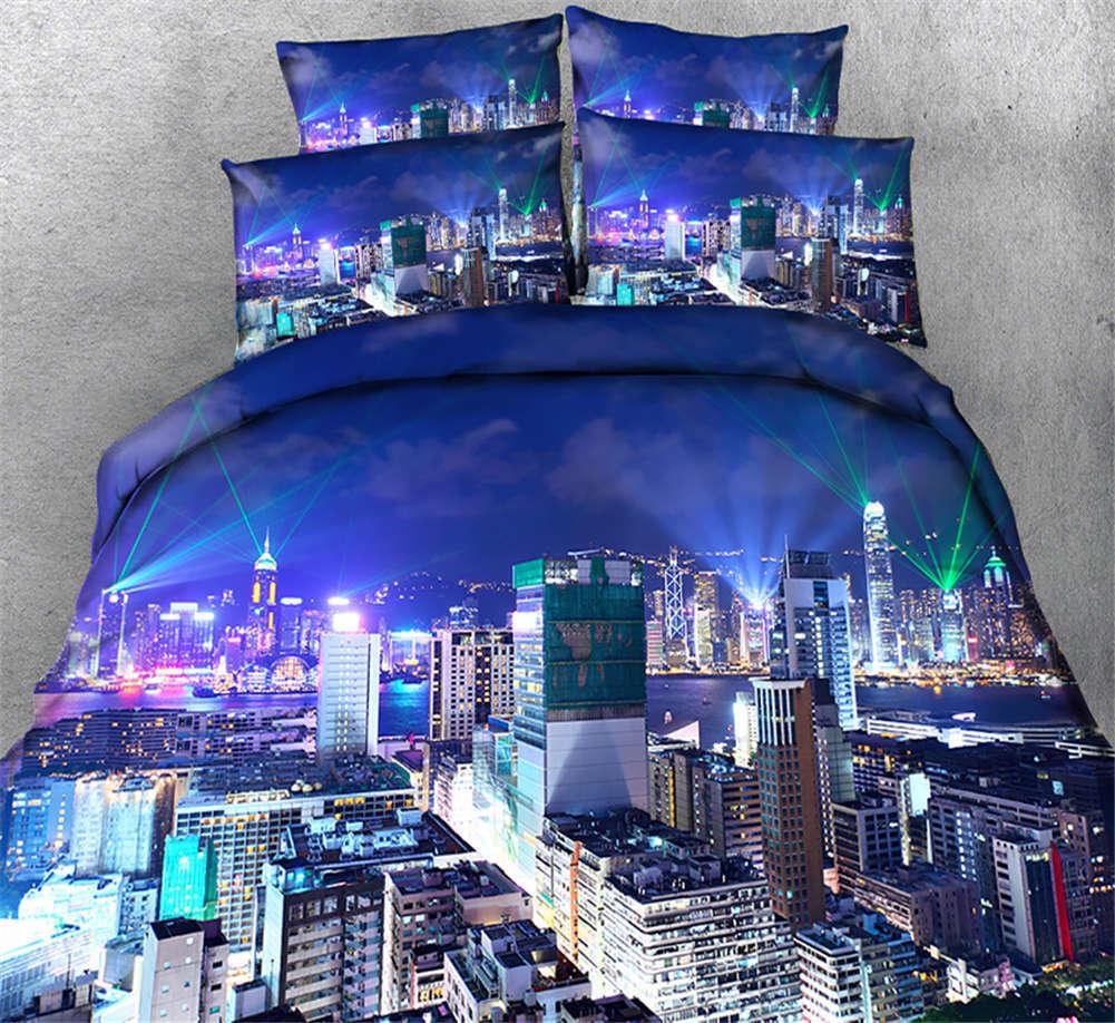 Teeming Metropolis 3D Printing Duvet Quilt Doona Covers Pillow Case Bedding Sets