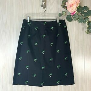 Pendleton-Skirt-Women-039-s-Size-10-Black-with-Embroidered-Palm-Trees-A-Line-EUC
