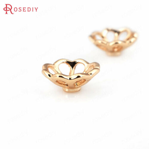 10PCS 10MM Quality Gold Color Brass Flower Beads Caps Jewelry Accessories 30833