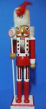 NUTCRACKER CHRISTMAS NUTCRACKER HOLDING STAFF WITH CANDY SWIRL TOP15''
