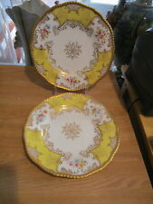 "2 Coalport Panel Yellow Gold Beaded Floral 9"" Luncheon Plates"