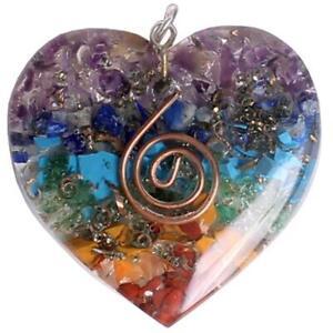 Orgonite Pendant 7 chakra layered orgone gemstone Heart reiki spiritual energy