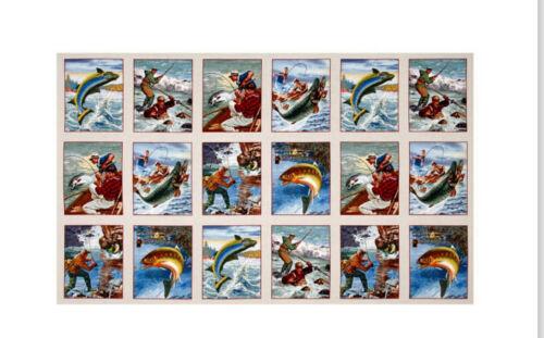 "Fishing Fish Sports Afield Tan Crm Cotton Fabric Elizabeths Studio 24/""X44/"" Panel"