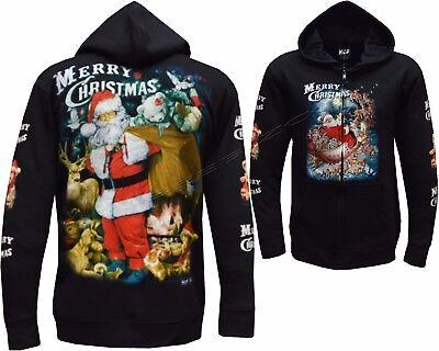Cute Santa Christmas Reindeer Glow In The Dark Zip Zipped Hoodie Hoody Jacket