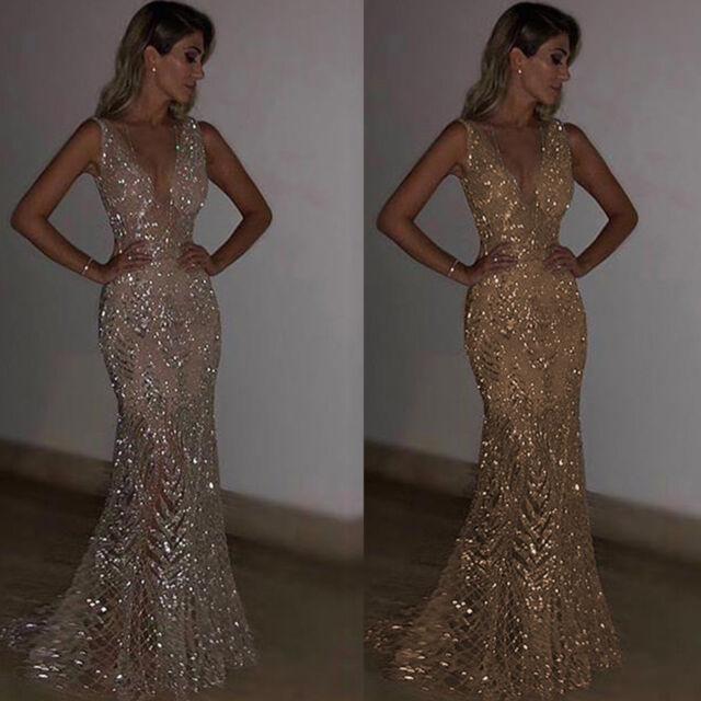 AU Womens Bodycon Sequin Maxi Dress Plunge V Neck Evening Cocktail Gown Sundress