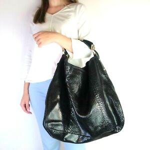 Gucci-Black-Python-Large-Horsebit-Hobo-Bag