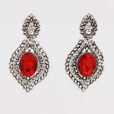 Red Crystal Rhinestone Leaf Dangle Pierced Earrings For Women Party KK292