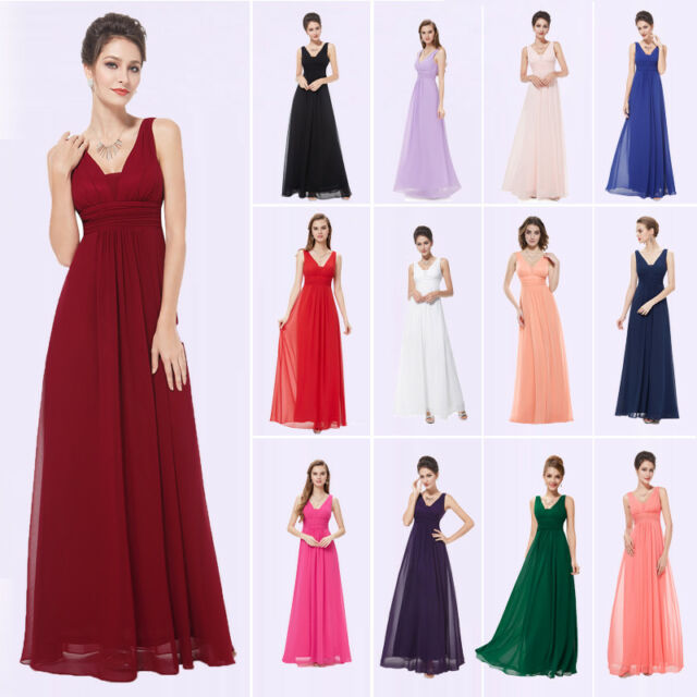 Ever-Pretty US Bridesmaid Dresses Long Formal V-Neck Evening Gown A-Line 08110